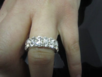 Wholesale two rows crystal elastic ring silver plated shiny rings lady love best presents double rows