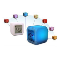 Wholesale 7 color LED colorful digital Alarm clock led flash light pc come