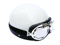 Wholesale P ABS Half Bol Vespa Open Face Motorcycle Full White Helmet amp Goggles M L XL