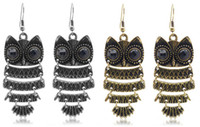 Wholesale Unique Ear Pin Lovely Owl Big Black Eye Earring Very Fashion Jewelry Hot Sale Earing pairs
