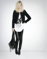 Women Skinny,Slim Capris Sexy Black Wet Look Faux Leather Leggings Treggings Pants Shiny Tights One size#2604