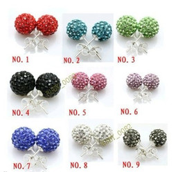 shamballa crystal earring stud 10mm AB clay balls Crystal Paved Disco Ball Earring Assorted color Cheap Wholesale