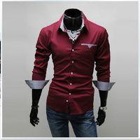 Wholesale Mens Shirts Long Sleeve Men s Casual t shirt Slim Fit Stylish Plaid Border Mens Shirts Tops Color plus size Men s Clothing