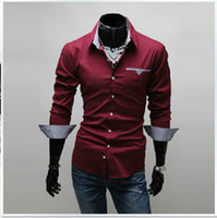 Wholesale New Mens Shirts Casual Slim Fit Stylish Dress Shirts Men Long sleeved shirt