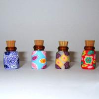 Cheap Mini Aroma Vials Empty Glass Bottle Essential Oil Pendants Ceramics Bottles Cork Stopper 1ml