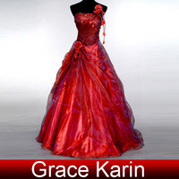 Wholesale Grace Karin Sexy One Shoulder A line Wedding Dress Pleated Bridal Gown Dress Handmade Flower Dresses CL2514