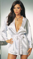 Wholesale Tie Front Satin White Lady Gown Sexy Women Sleepwear Hot Sell Robe Nightwear New Style