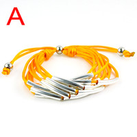 Wholesale 2013 Hot selling Fashion Bracelets colors avaiable soft cord with copper tube desgin BR