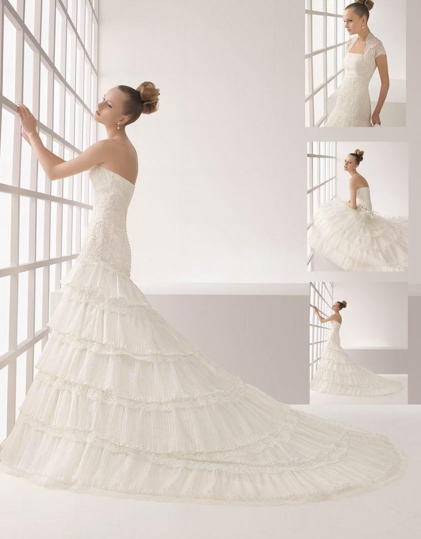 2014 sexy elegant wedding dresses white orange strapless for White and orange wedding dress