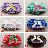 Wholesale Baby CONTRAST COLOR Ruffled Bloomer with BOW Girl Skirt with Diaper Cover size color