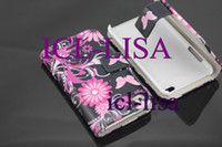 Wholesale Black butterfly Flip Leather Case for ipod touch th ipod leather pouch belt cases