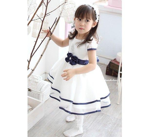 2017 Baby Girls Dress Kids Children White Dress Girls Bows Navy ...