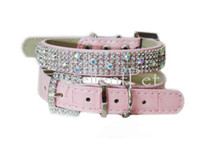 Wholesale sparkly rhinestone pink cat collars for cats pet leash available color