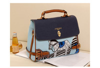 Wholesale Handbag Fall New Korean Fashion Women s Retro Blue and Champagne Color Pony PU bag C001