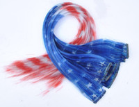 Wholesale CM Long American Flag Clip in Stars Feather Hair Extension