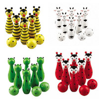 Wholesale Free Ship Cute Baby Wooden Animal Style Bowling Toy Desing Bowling Ball Game Baby Educational Toy