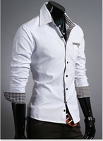 uyuk - New Man Fashion UYUK Luxurious Lining white Blur Lattice Patch Decoration Slim Man Shirt