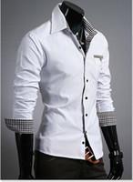 Casual uyuk - New Man Fashion UYUK Luxurious Lining white Blur Lattice Patch Decoration Slim Man Shirt