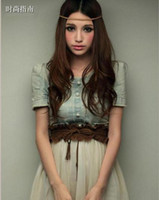 Wholesale 2012 sweet denim with lace joining together gauze dress with belt