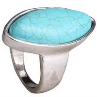 Wholesale Leaf Turquoise Gemstone Tibet Silver Ring RB