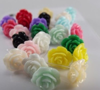 Wholesale Roses hypoallergenic earrings plastic earrings Fashion jewelry flower earrings pair
