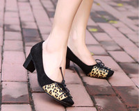Wholesale 2012 NEWEST ladies sexy shoes fashion Square head leopard Mixed colors popular