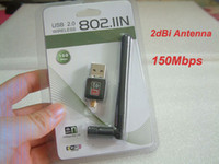 Wholesale 150Mbps Mini USB WiFi Wireless Adapter network LAN Card n g b with Antenna