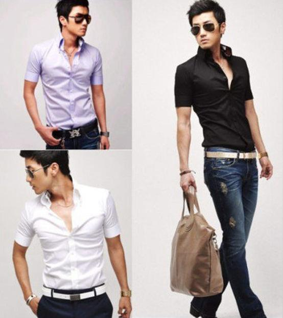 2017 2012 Mens Slim Fit Stylish Dress Short Sleeve Shirts Men ...