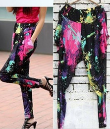 Wholesale Colorful Scrawl Plangi Harem Pants Europe Style Super Fashion Personality Ice Silk Trousers Average