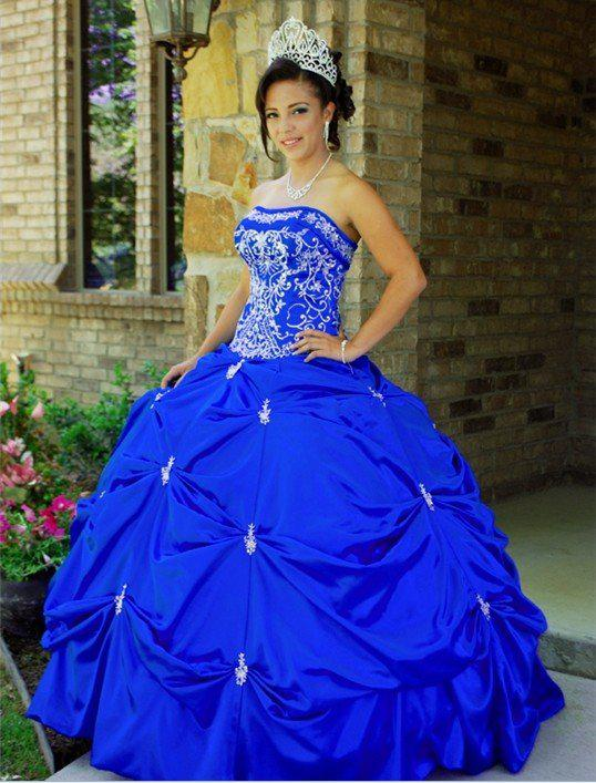 2015 Princess Ball Gown Quinceanera Dresses With Beaded Embroidery ...