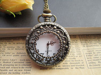 Wholesale Retro Brass Palace flower quartz Pocket Watch Necklace piecs