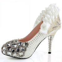 Wholesale 2015 fashion shoes BEAUTIFUL CRYSTAL DIAMOND HIGH HEEL BRIDAL WEDDING PLATFORM SHOES size