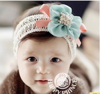 Girl Spring / Autumn Newborn Hat Free Shipping 5 Pieces Girl Flower Flower Hairbow Hairband Hair Band Headband Satin Crochet Headband