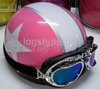 Wholesale ON SALE Scooter Half Vespa Motorbicycle Open Face Pink quot White Star quot Helmet Casque Goggles M L XL