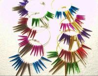 Wholesale Mixed basketball wife earrings Seven color peak bead cone beads mm hoop earrings