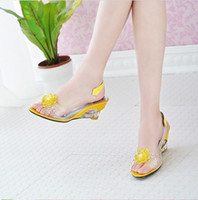 ladies slippers - Summer Style Women Fashion High Heel Crystal Shoes Ladies Sexy Fish Mouth Wedge Sandals Girls Lovely Flowers Casual Slippers