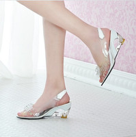 Wholesale Women Ladies Girls Fashion High Heel Crystal Shoes Wedge Sandals Lovely Fish Mouth Flowers Slippers