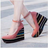 Red Women Wedge Wholesale New hot sale New Style Retro Mix Color casual Buckle platform Wedge Heel Sandals EU35-39