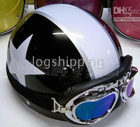 Wholesale ON SALE ABS Scooter Half Motorbicycle Open Face Black White Star Helmet amp Color Goggles M L XL