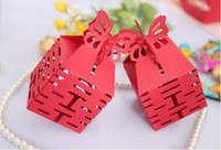 Favor Boxes Red Paper Cheap 50pcs Wedding Butterfly Red DIY Chinese Paper Gift Wedding Favor Candy Box