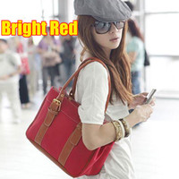 Wholesale RED Women new fashion canvas bag shoulder leisure handbags Simitter