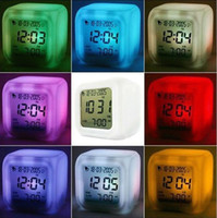 Wholesale 50pcs Table Desk Digital Alarm Clock Colors LED Display Plastic Clocks Different Cartoons or Plain