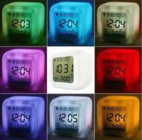 Wholesale 200pcs Table Desk Digital Alarm Clock Color LED Display Plastic Clocks Different Cartoons or Plain