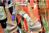 Wholesale Party princess sandal black high heel crystals wedding evening shoes dress shoeses pump