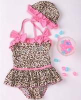 Wholesale Children Swimwear girls sweet cute leopard One piece swimsuits set dandys