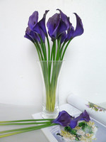 Wholesale 60pcs HOT cm Elegant Silicon Artificial Simulation Flower Egyptian Calla Lily Zantedeschia Purple