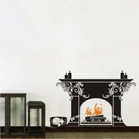 Graphic vinyl bedroom fireplace - And Retail Decor Mural Art Wall Sticker Beautiful Fireplace Decal Removable HOT B