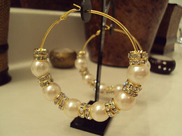Wholesale Pearl Basketball Wives Earrings NEW Poparazzi Inspired Hoops Earrings Plating Gold Circle Earring