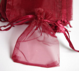 500pcs 7x9cm Dark red jewelry gift pouch wedding organza bags Wedding Favor Party