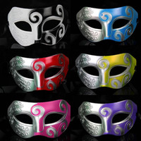 Wholesale 50pcs Mens Carving flower Mask Halloween Masquerade Masks Venetian Dance party Mask Men mask